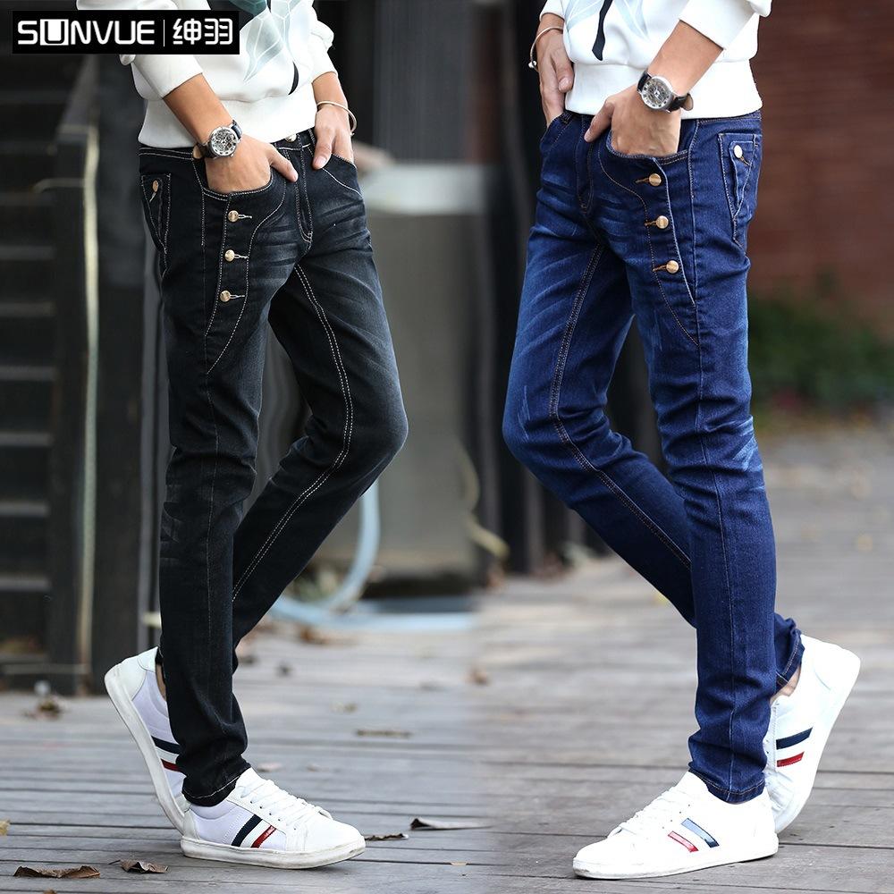 2017 весна корейская новая версия модель ковбой брюки мужской стиль джинсы брюки мужской