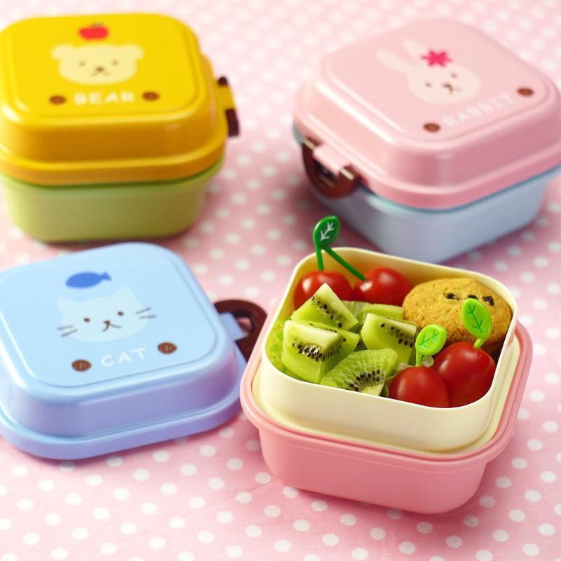 2个包邮 可爱动物儿童点心盒 迷你双层便当盒 便携宝宝水果盒