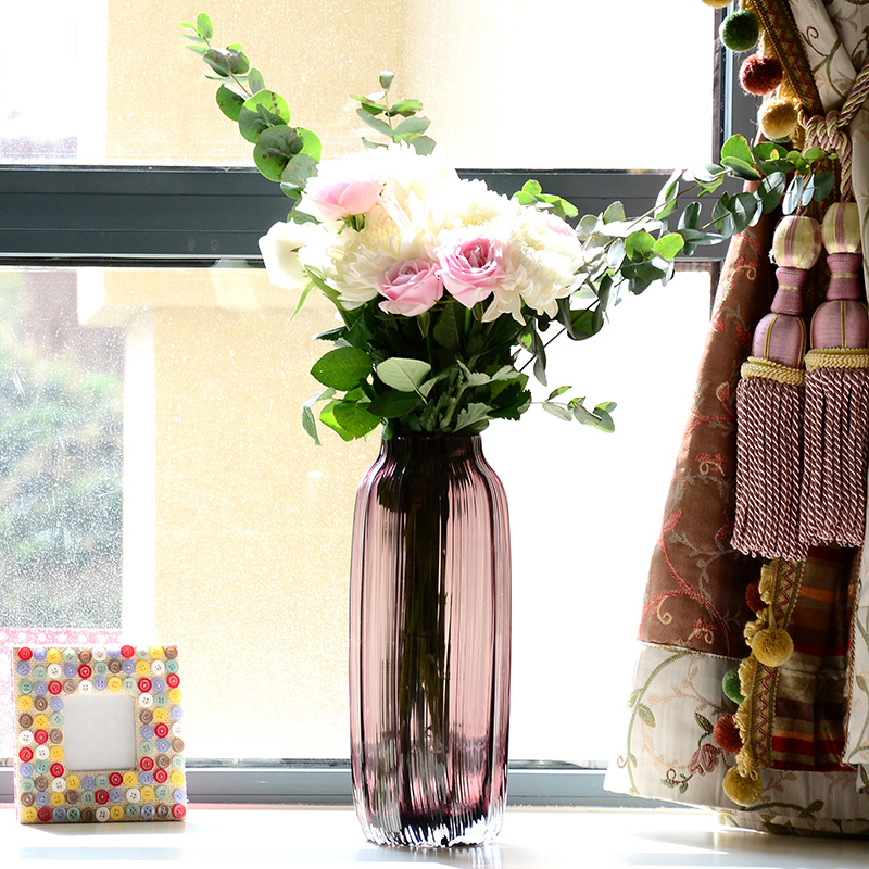卡莎慕 歐式 直筒 玻璃花瓶 大號 瓶子花 透明 包郵 巴伐利亞
