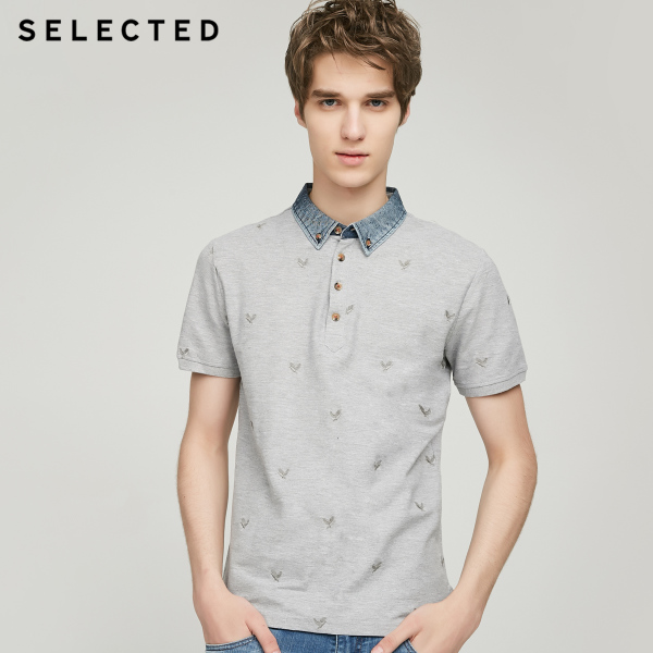SELECTED Si Laide cotton, polyester embroidery stitching lapel men's casual short-sleeved T-shirt C | 416306504