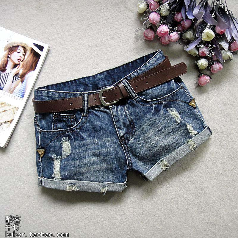 2015 новый стиль синие джинсы шорты девушка тонкий старый Корейский отбортовки тенденция в коже летом