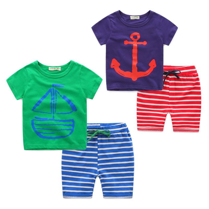 Baby полосой костюм лета двухсекционный мальчиков флота детей корейской версии Новая волна дети лета 2016