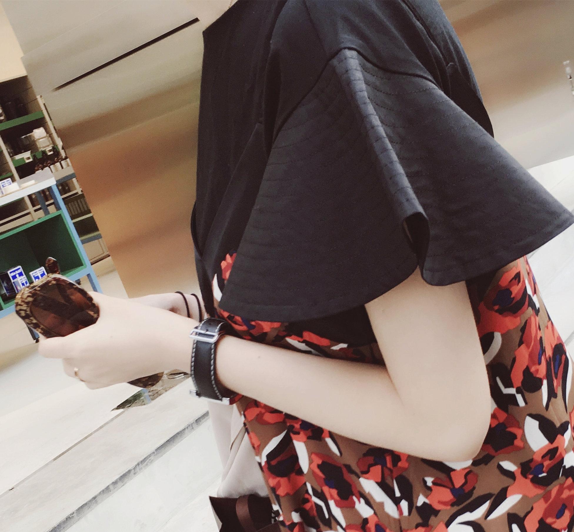 13宜定制 正品特价永不起球纯棉荷叶袖圆领纯色小T恤衫黑色打底衫
