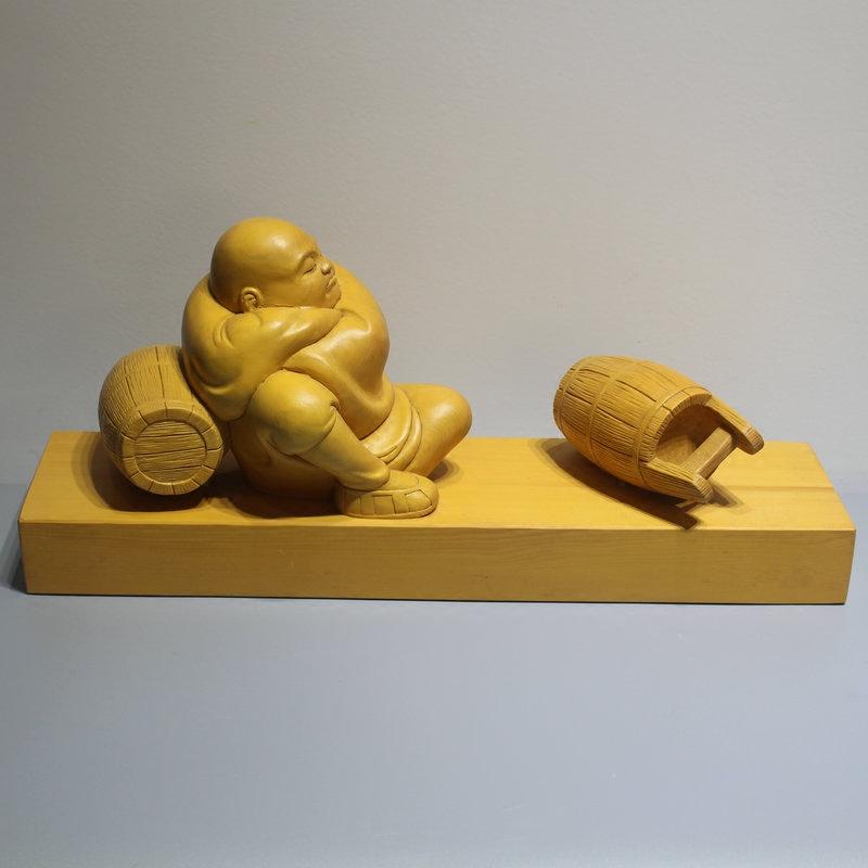 大汉九鼎 不劳不获 桧木雕刻摆件 有寓意的木雕作品教育孩子