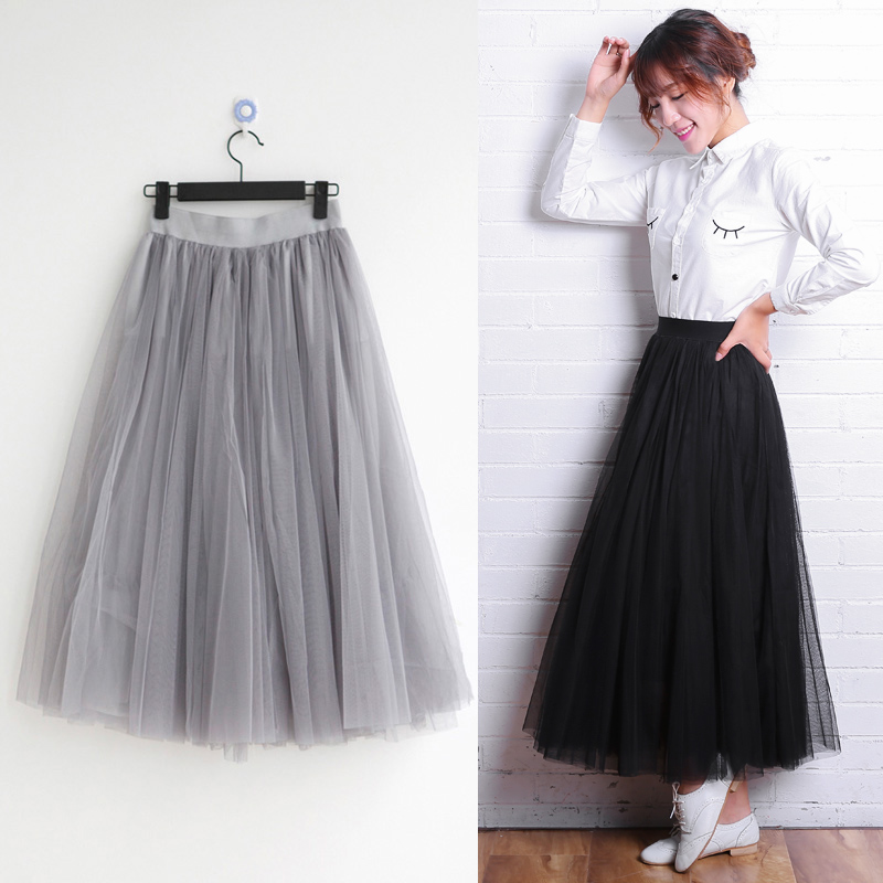 2018 spring dress new mesh skirt princess skirt lace skirt pompous skirt high waist A-line medium length skirt Fairy