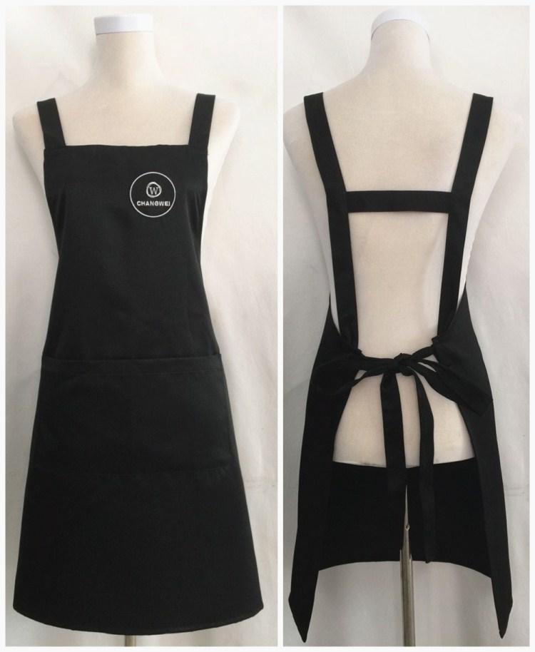 时尚简单H型背带可调节工装围裙 原创可定制男女工作围裙店名logo