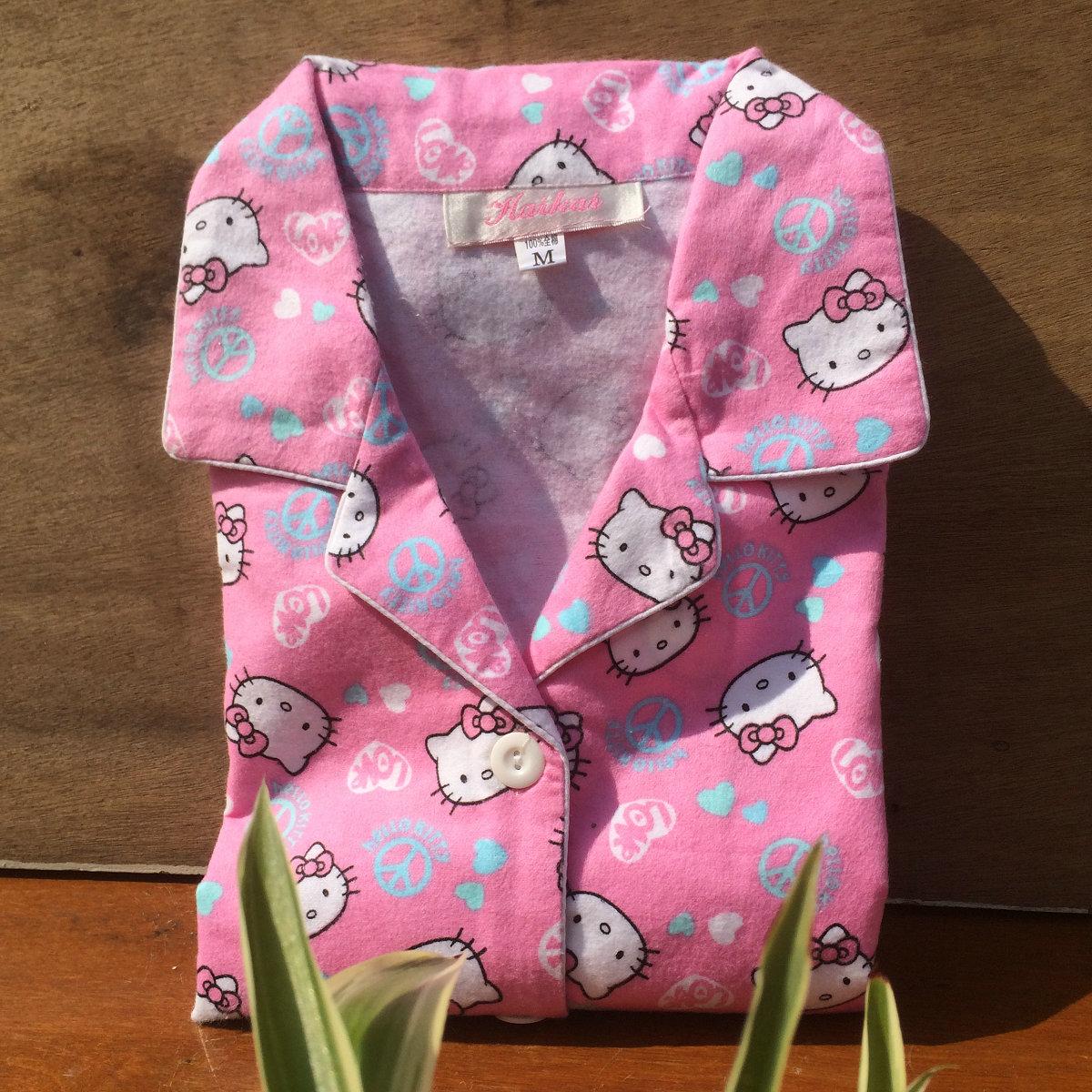 包邮女士磨毛绒布粉色凯蒂猫 kitty长袖全棉布睡衣两件套装家居服