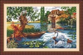 十字绣高清彩色印刷图纸风景FJ019天鹅湖9161cross stitch