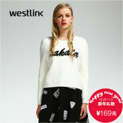 Westlink/West New 2015 winter simplicity ladies alphabet long sleeve pullover