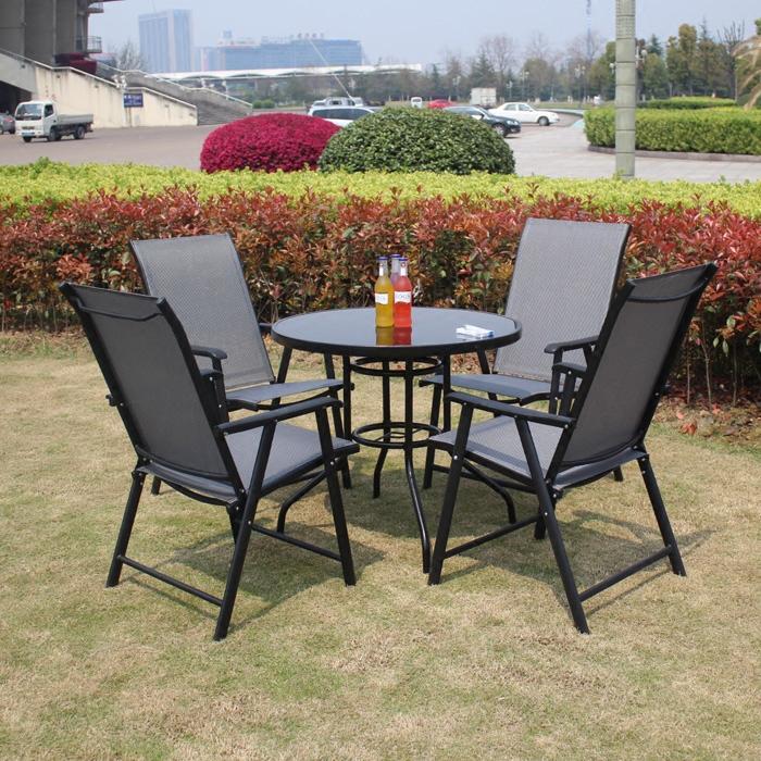 铁艺折叠特斯林桌椅星巴克休闲户外桌椅室外庭院家具组合三五件套
