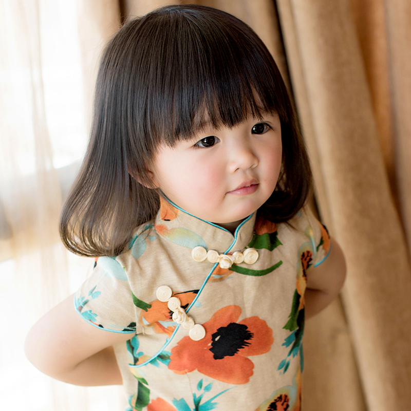 夏款儿童旗袍唐装 水墨花女童短袖连衣裙 棉麻中式宝宝裙 亲子款