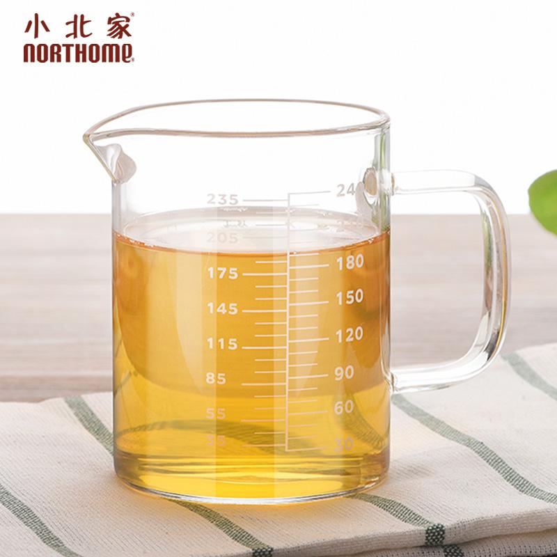 小北家耐熱玻璃量杯帶刻度兒童牛奶杯烘培計量杯量水杯透明刻度杯