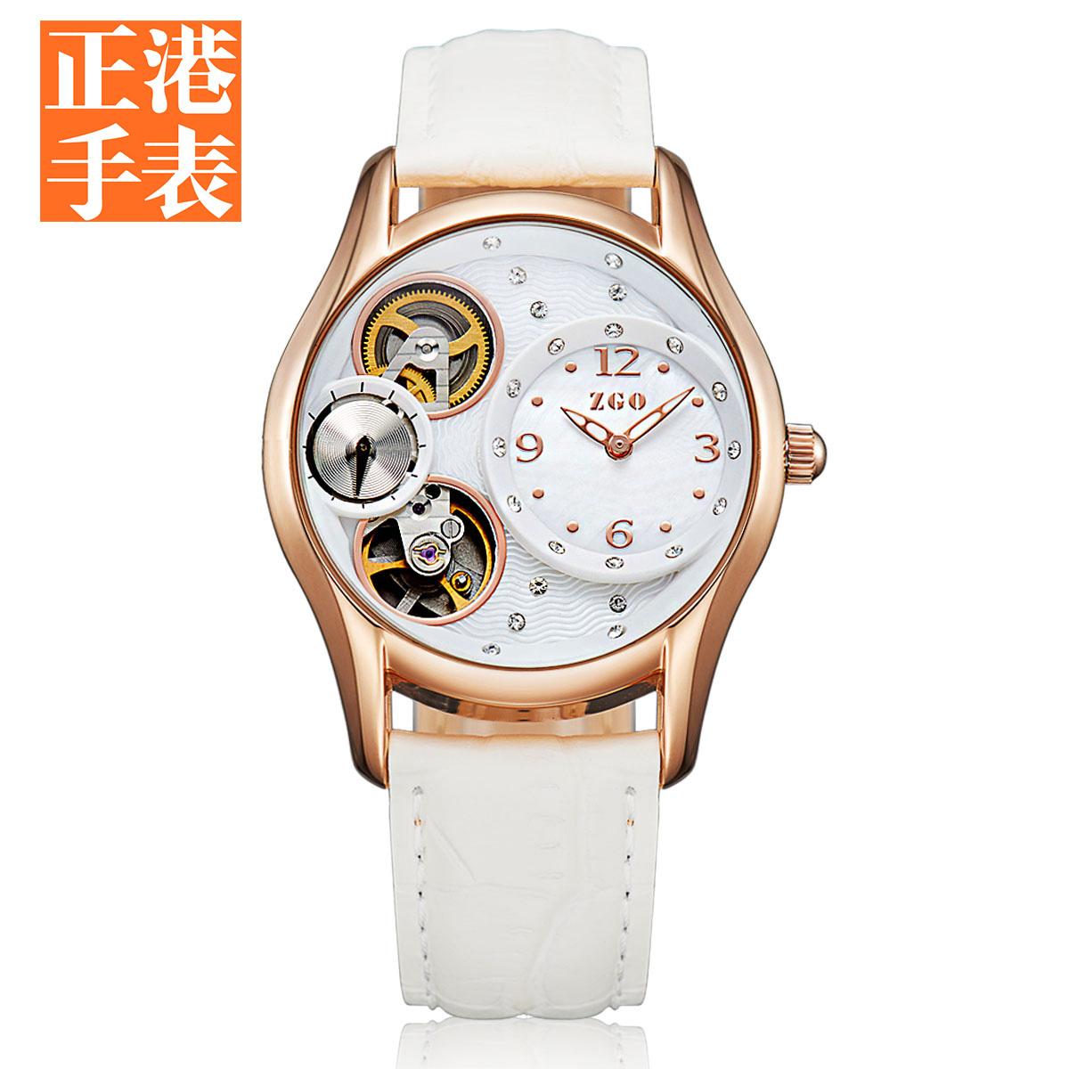正港2016 全自動機械表潮女表防水夜光真皮帶正品女士白色手表