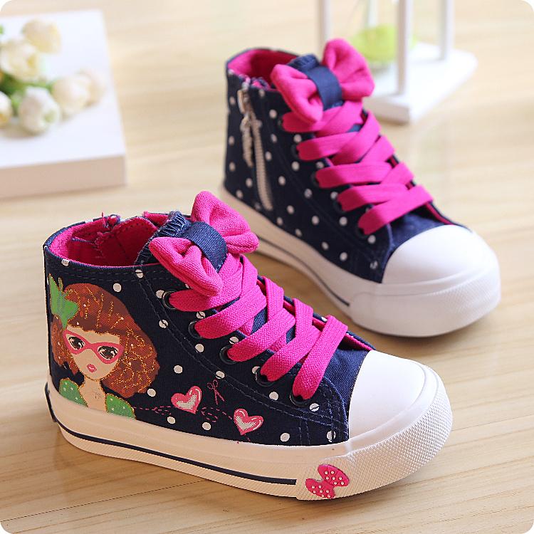 весной 2015 новой корейской версии детский Кроссовки высокие кроссовки Рисованные девушки принцесса детей обувь