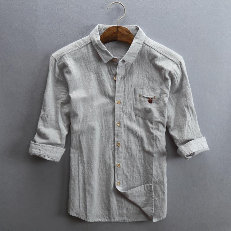 透气文艺亚麻七分袖衬衫男士修身薄款短袖寸衫潮流宽松棉麻衬衣男