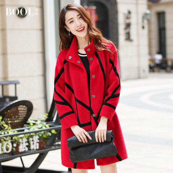 Baou coat Haining female sheep-shorn wool coat collar single-breasted long section of new winter 2016