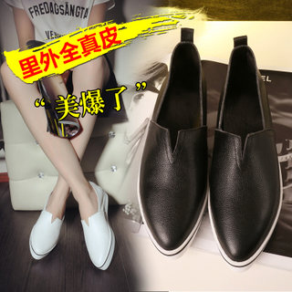 Spring tip of England increased thickness in the Lok Fu shoes leather casual flat shoes women's shoes at the end of a pedal little white shoes