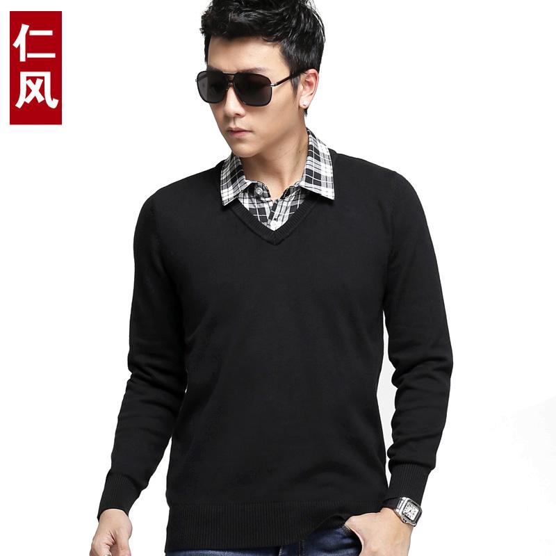 仁风 2015秋冬新款男士修身毛衣 假两件针织衫男套头毛线衣韩版