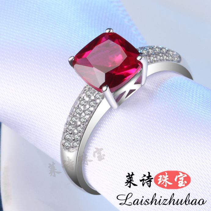 Ruby ring, womens Color Gemstone Ring, 18K silver plated tourmaline, Chaoren silver pair ring
