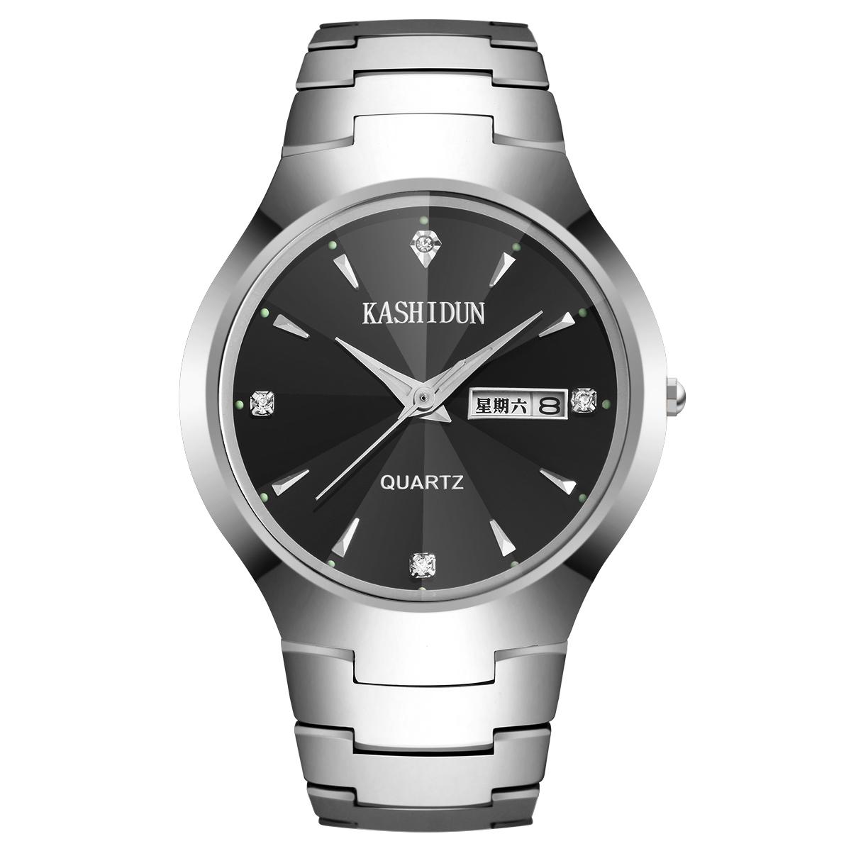 卡詩頓正品鎢鋼手表男士 商務腕表夜光石英表防水男表水鑽手表