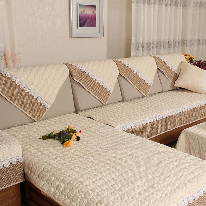 棉麻沙發墊簡約 防滑坐墊四季亞麻布藝全包沙發套罩靠背巾定做