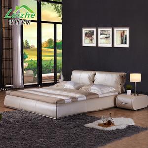雷哲 真皮床现代简约小户型双人床皮艺床软包软体床1.5 1.8米婚床