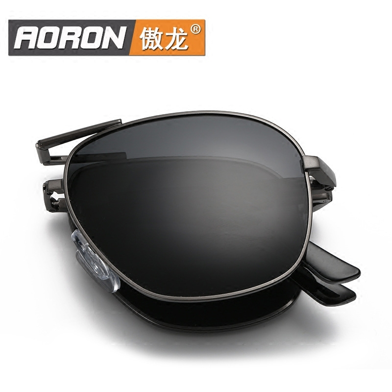 Folding Sunglasses genuine 2020 new polarized mens Sunglasses personality middle aged dad sun visors can be matched with myopia