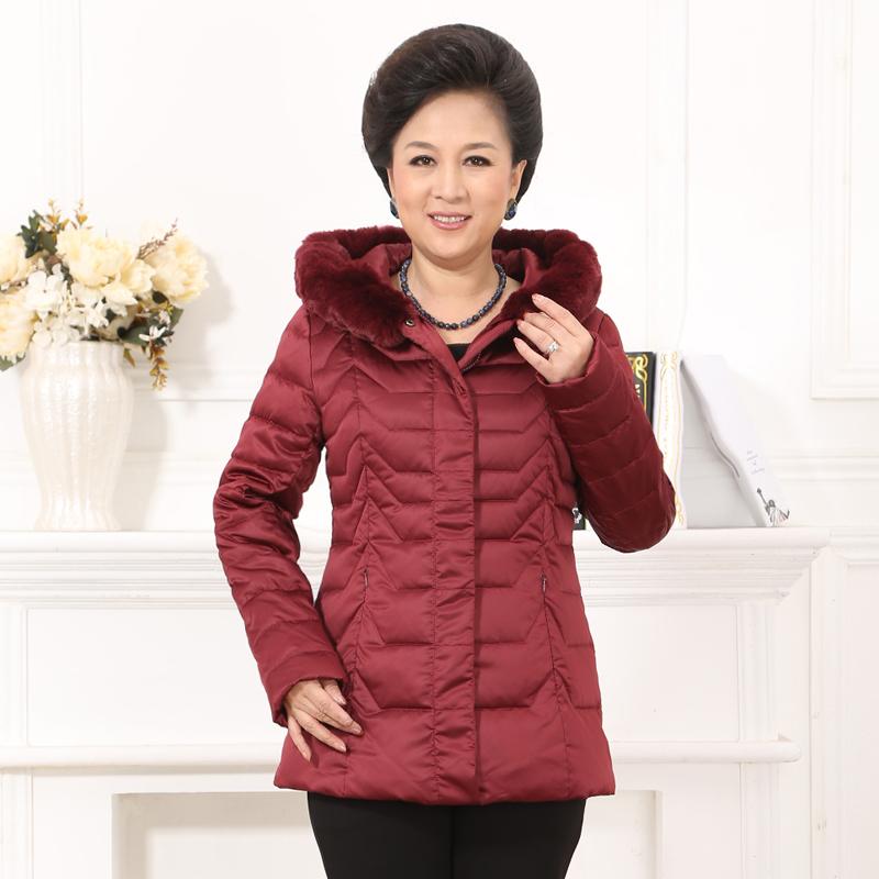 梦娜世家新款中老年妈妈款女士修身加厚保暖时尚中长款羽绒服A136