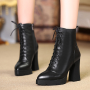 Fall/winter love of the strange new coarse with thick waterproof leather women boots high heel short boots women tie Martin boots
