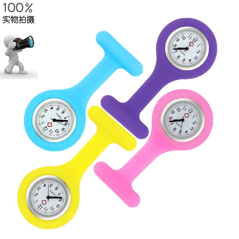 Silicone nurse watch medical wall watch jelly candy color Pocket Watch Pin quartz watch