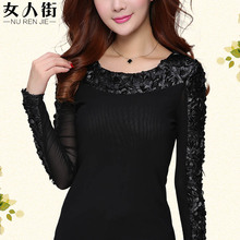 Ms render unlined upper garment to fall outside the new 2015 t-shirts long-sleeved round collar shirt net yarn splicing high-end PU lint