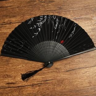 扇子折扇古风女式 随身迷你流苏黑6寸林扇 中国风古典复古日式