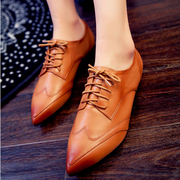 Fall 2015 designer shoes leather with flat deep flat-bottom shoes tipped with small ladies casual shoes leather shoes
