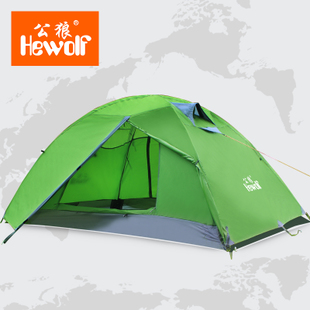 Male wolf Outdoor Double Double Pole Four Seasons multiplayer anti rainstorm tent 2 person camping camping supplies