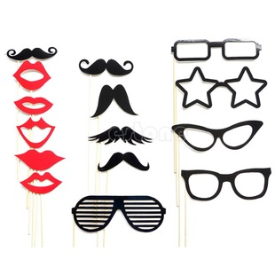 Free Shipping 15 Photo Booth Props Moustache Lips on A Stick