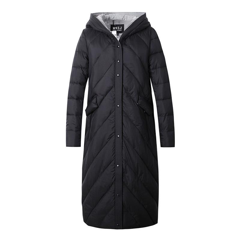 梦娜世家2017女式新款长款韩版修身时尚潮流加厚保暖羽绒服1666