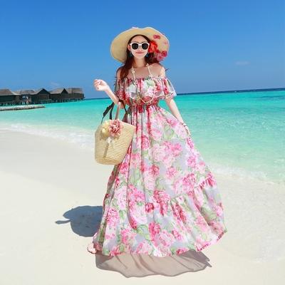 2015春夏海边度假长裙露肩一字领波西米亚沙滩裙雪纺显瘦连衣裙女