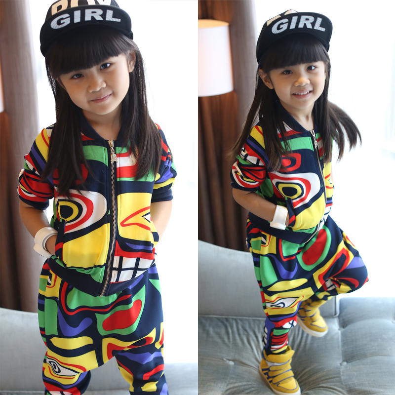 Childrens clothing mens and womens autumn clothing sports leisure childrens long sleeved cardigan + pants autumn suit