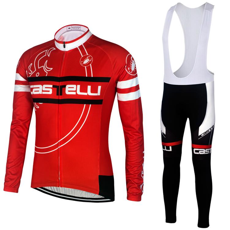 特价包邮 15蝎子红色骑行服背带长套装 春秋 环法自行车长裤批零
