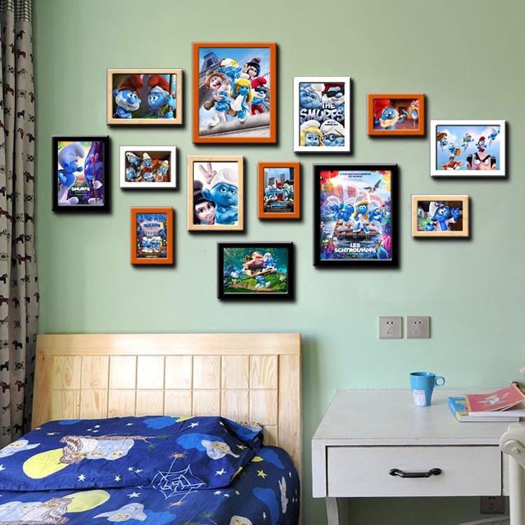 原创蓝精灵哈喽KT机器猫电影主题照片墙影咖包间专用装饰组合相框