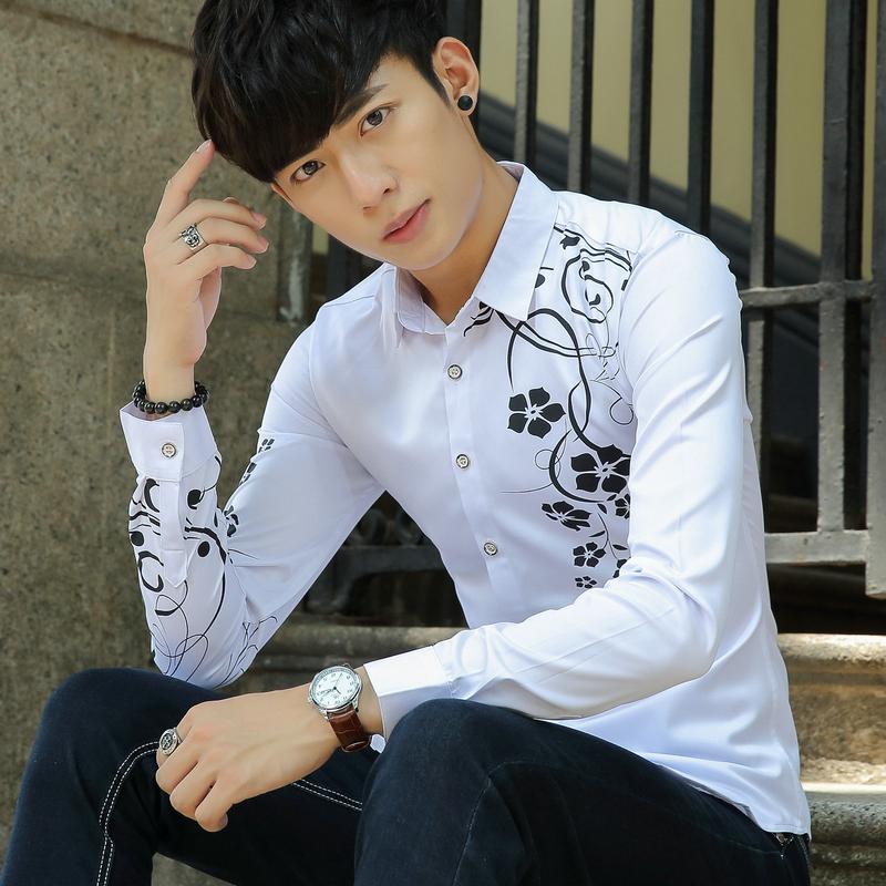 春夏新款男长袖衬衫韩版潮个性修身印花长袖衬衫男潮衬衣男C139