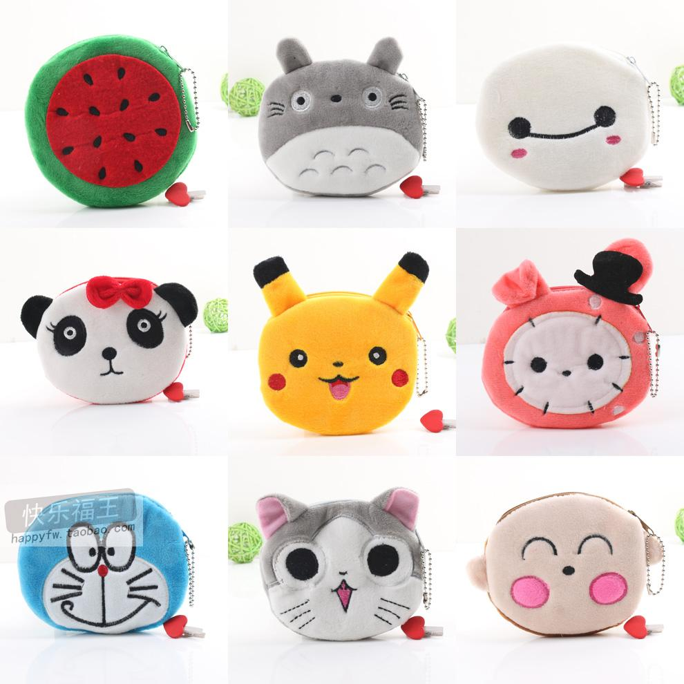 Korean girls cute plush small wallet meow star zero wallet cartoon fabric Coin Bag Mini card bag