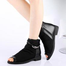 Big ya family of fashion yards net fish mouth large female boots was 40-43 gauze British low cooling boots with women's shoes