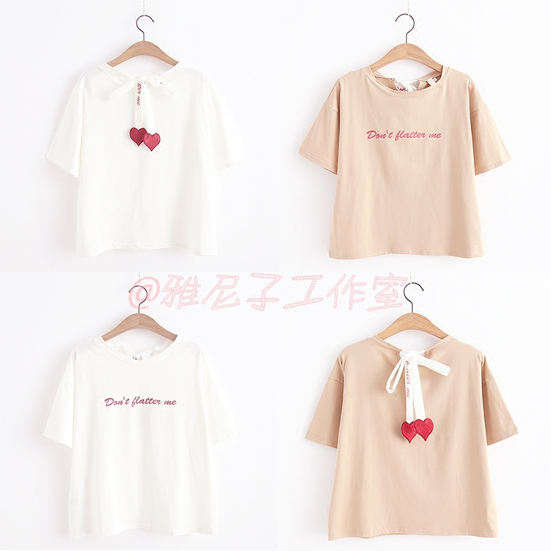 2020 summer new womens dress printed love short sleeve lace up top summer students versatile round neck Japanese T-shirt for women