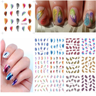 1 Sheet Nail Art Tools Feather Leopard Water Transfer Sticke