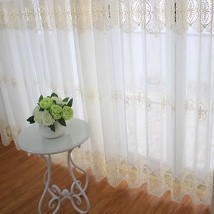 简欧绣花窗纱客厅落地窗帘卧室飘窗纱帘成品定制白色欧式 阳台窗帘
