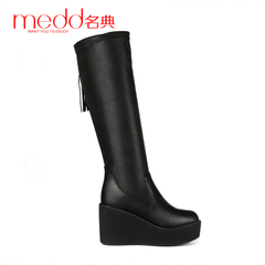 Name code 2015 new autumn and winter thick-soled wedges fringed boots platform boots pointed toes high boots at the end of a long tube women boots