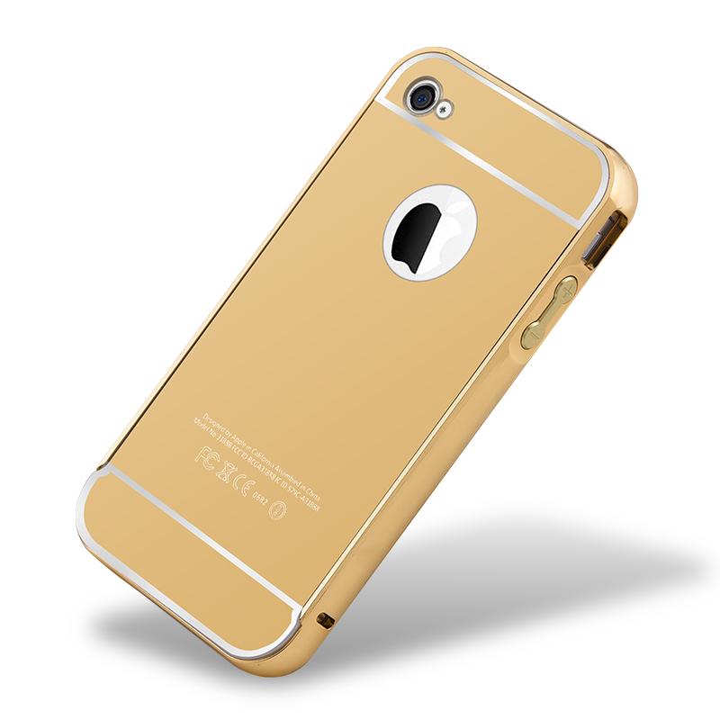 智腦 iphone4s手機殼蘋果4s手機套金屬邊框 後蓋薄保護套外殼