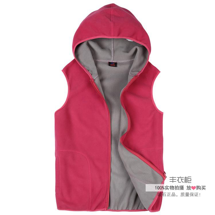 Authentic womens spring and autumn winter outdoor fleece cardigan vest hooded rocking fleece warm coat shoulder vest sweater