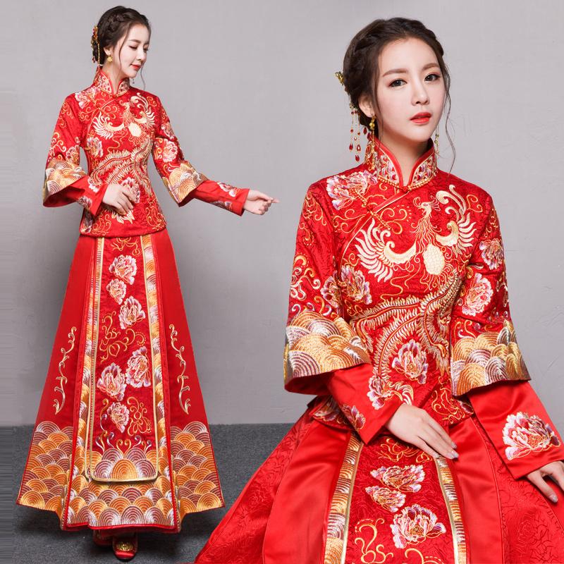 Baby в этом же моделье красивый зерна одежда невеста выйти замуж уважение ликер одежда китайский стиль платья подвенечное платье 2017 новый весна красивый зерна дракон пальто